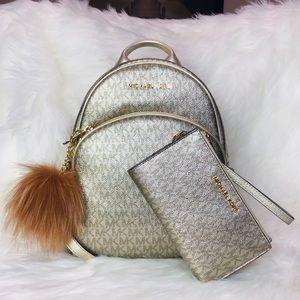 3PCS Michael Kors Abbey Backpack Wallet Charms Set